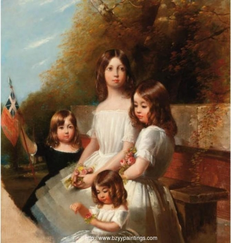 Group portrait of four children in a landscape holding flowers and a flag.jpg