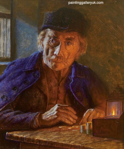 Old man counts the coins by candlelight.jpg