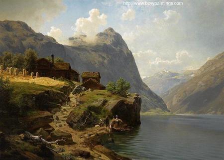 Figures in a mountainous river landscape.jpg