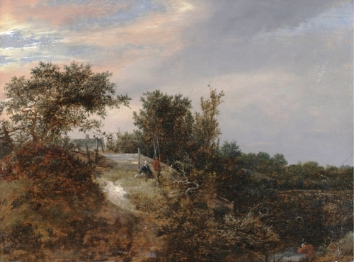 A landscape with two figures on a rise and a stream at right.jpg