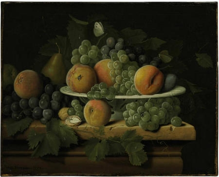 Peaches grapes and a pear in a ceramic dish on a stone ledge with a pear walnuts and butterflie.jpg
