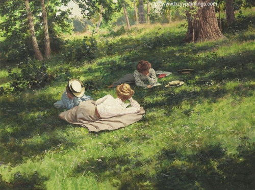 Three reading women in a summer landscape.jpg
