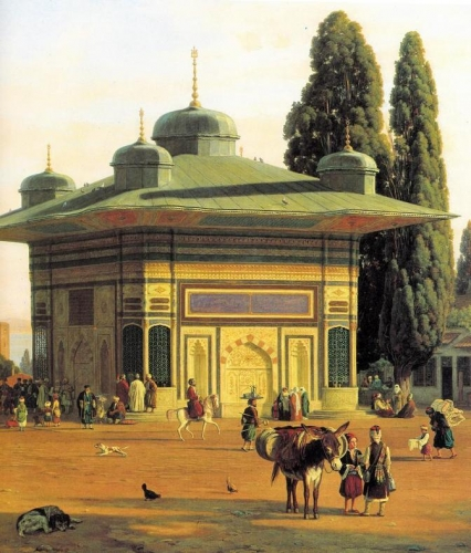 The Fountain in the Square of St Sophia by the Gate of the Seraglio in Constantinople detail).jpg