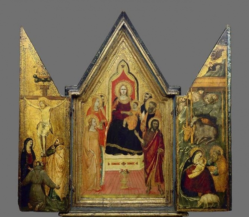 Triptych: The Virgin Enthroned with Saints the Crucifixion and the Nativity.jpg