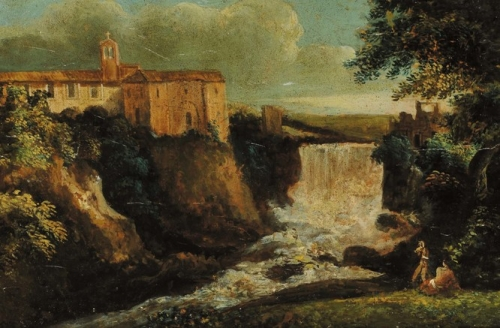 Countryside Scene with Buildings and a Waterfall.jpg