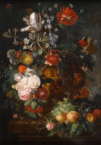 A Still Life of Flowers in a Terracotta Vase on a Ledge.jpg