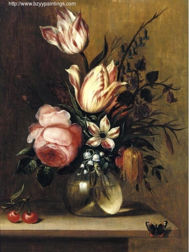 A still life with tulips a pink rose and other flowers in a vase.jpg