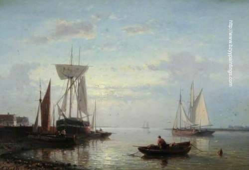 Coastal Scene with Beached Vessels Evening.jpg