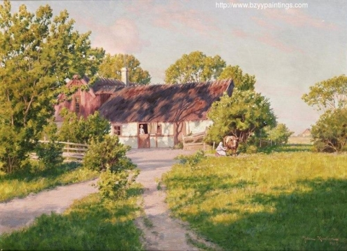 Old Farm with Woman Milking a Cow.jpg