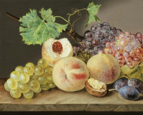 Still life with peaches grapes plums and walnut.jpg