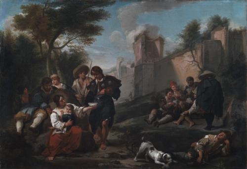 Bambociata Pilgrims and Peasants next to the Aurelian Defensive Walls in Rome.jpg