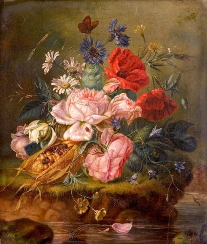 Still Life of Mixed Flowers and Insects on a Mossy Bank.jpg