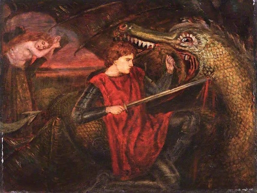 The Theodore Watts-Dunton Cabinet: Saint George and the Dragon after Dante Gabriel Rossetti).jpg