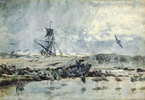 A Ship and Seabirds near the Coast.jpg