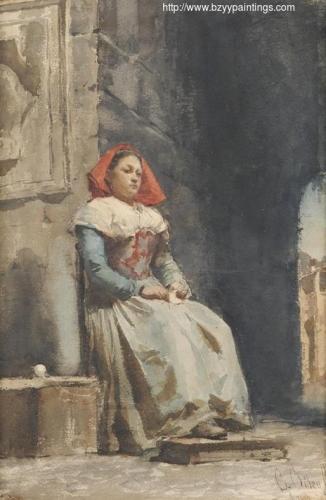 Young Italian Woman Knitting in a Courtyard.jpg