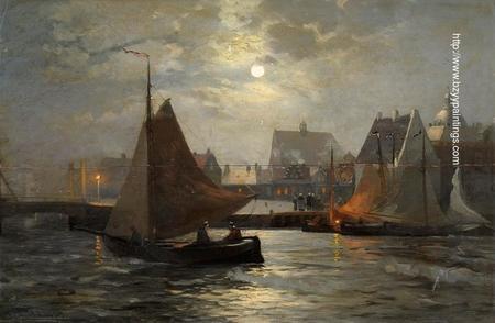 Harbor Scene with Full Moon.jpg