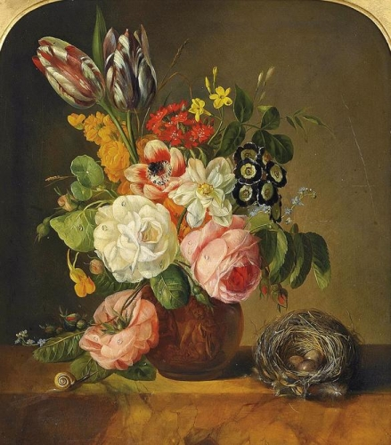 Flowers in a terracota vase with a birds nest.jpg