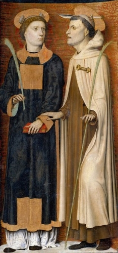 Annunciation Triptych; detail of right panel with Saint Stephen and a martyred Carmelite.jpg