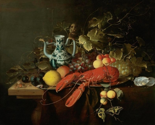 Still Life with a Lobster on a Pewter Plate Lemons Grapes Apricots Oysters etc.jpg
