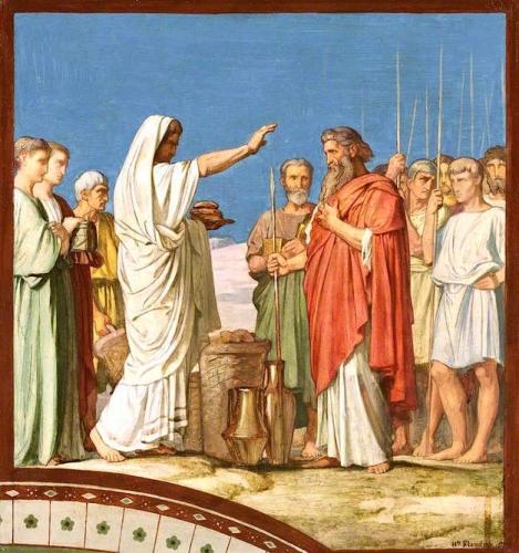Melchisédech offrant du pain et du vin bénit Abraham.jpg