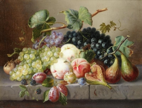 Still Life with Fruit and Insects on a Marble Ledge.jpg