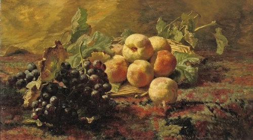 Blue grapes and peaches in a wicker basket.jpg