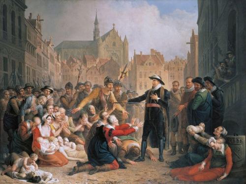 Burgomaster van der Werf offers his sword to the people of Leiden.jpg