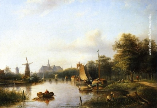 A View of the River Spaarne Haarlem with Moored Shipping and a Hay-Barge the St Bavo Church in the Background.jpg