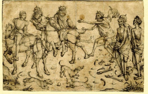 Three living and three dead kings; to the left are three kings on horseback.jpg