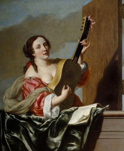 A lady playing a guitar on a balcony.jpg