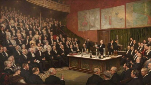 Sir James Dewar Lecturing on Liquid Hydrogen at the Royal Institution.jpg