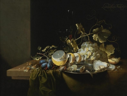 Still Life of Hazelnuts Grapes Oysters and other Foods on a Drapped Table.jpg
