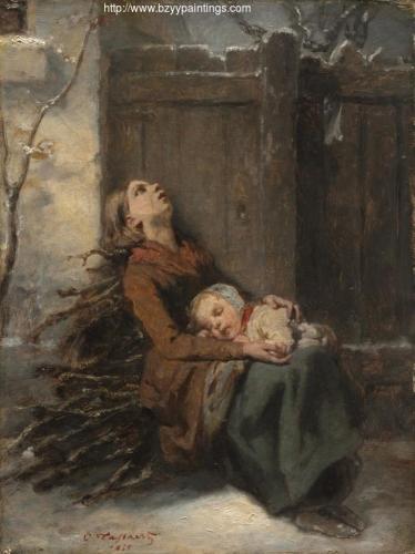 Destitute Dead Mother holding her sleeping Child in Winter.jpg