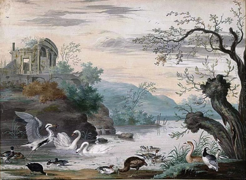 An Italianate Landscape with Swans a Heron Ducks and a Goose.jpg