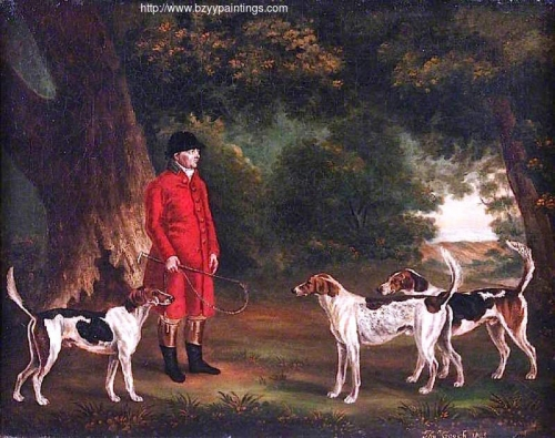 Thomas Sebright with Three Favourite Hounds Belonging to the New Forest Hunt in a Wooded Landscape.jpg