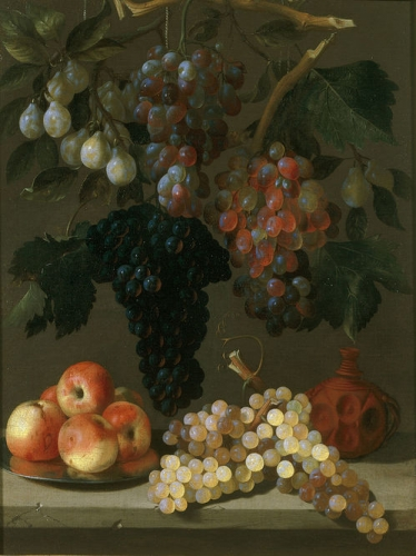 Still life of grapes apples and plums.jpg