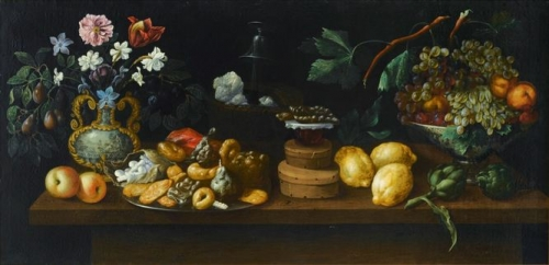 Still Life with Sweets Flowers and Wine Cooler.jpg