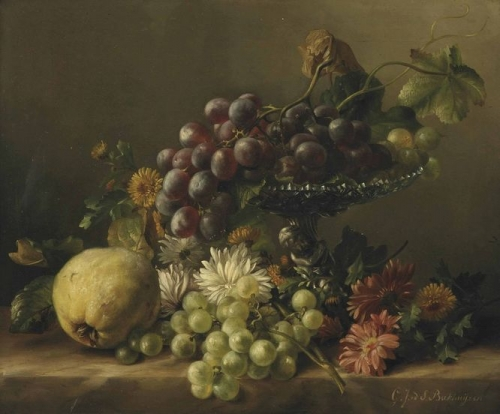 A quince dandelions daisies dahlias and a plateau with grapes all on a ledge.jpg