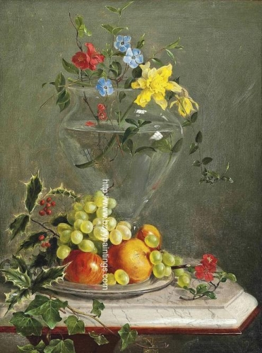 Flowers in a Glass Vase and Fruit on a Dish.jpg