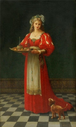 Interior Scene with a girl holding a tray of fruit with a dog by her side.jpg