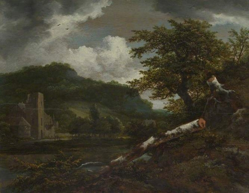 A Landscape with a Ruined Building at the Foot of a Hill by a River.jpg