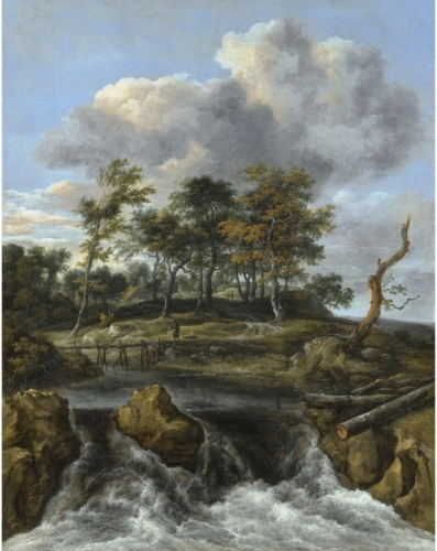 A River Landscape with a Man crossing a Bridge above a Waterfall.jpg