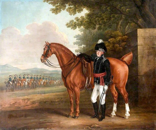 Colonel Thomas Cooper Everitt also known as Colonel Thomas Cooper Everitt with the Hampshire Fencible Cavalry drawn up in the B.jpg
