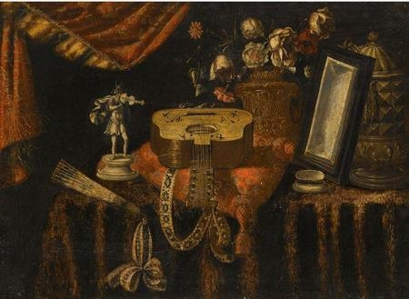 A still life with a guitar a fan a statuette of a violinist a snuff box a mirror and flowers all on a draped table.jpg