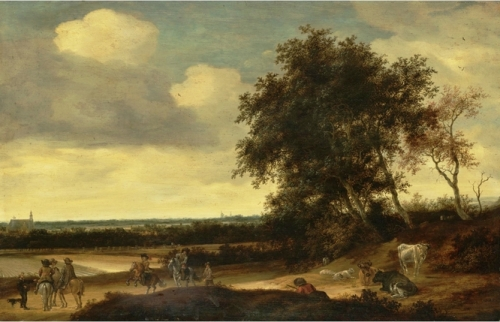 A landscape with cavaliers in the foreground a church beyond.jpg
