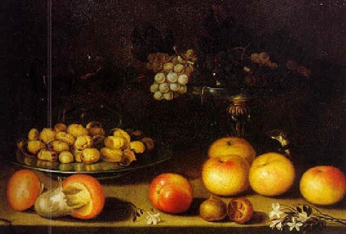 Still Life with Chestnuts Grapes Fruits and Weasel on a Table.jpg