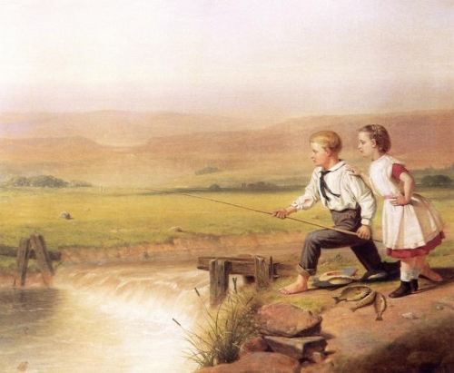 Children Fishing with Their Catch Two Perches and a Bream.jpg