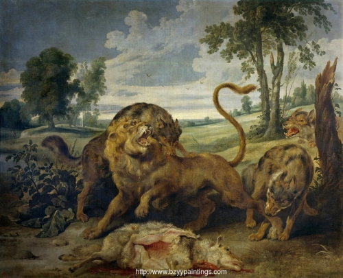 A Lion and Three Wolves.jpg