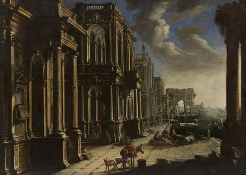 View with architecture triumphal arch and figures.jpg