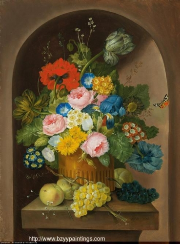 A floral still life with grapes and apples.jpg